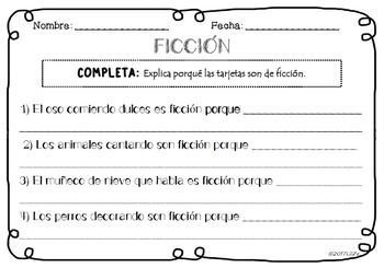 TARJETAS Ficción VS No Ficción + Fichas  trabajo/ Fiction or Non Fiction 1 grade