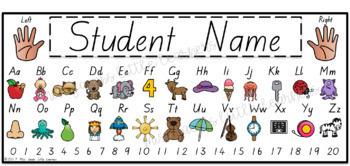 TASSIE Font Alphabet Desk Strips with Number Line {Name Tags}