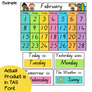 TAS Font Classroom Calendar & Weather Display {Rainbow Classroom Decor}