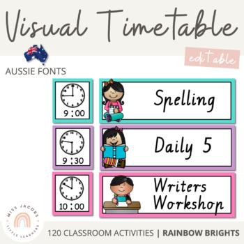 TAS Font Daily Timetable {Rainbow Theme}