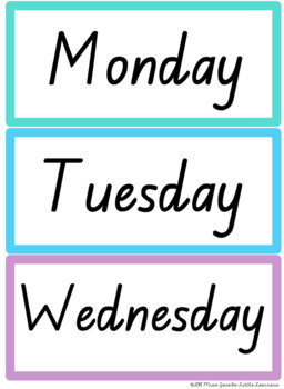TAS Font Months and Days Labels {Rainbow Theme}
