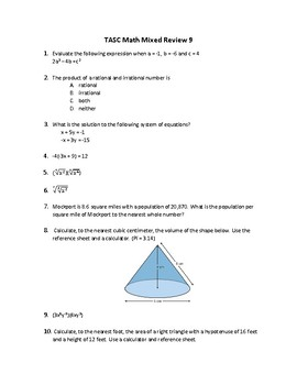 TASC Math Practice Test Final Review Warm-ups 300 Questions All Topics