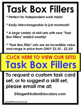 TASK BOX FILLERS Task Card Sets for Independent Work Task System for Autism