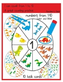 """Counting practice. Clip Cards. Dinosaurs """"I can count to 10""""."""