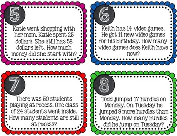 TASK CARDS - 1 Step Word Problems