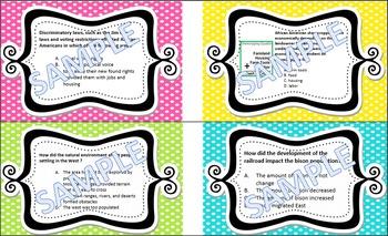TASK CARDS 5th grade SOCIAL STUDIES Standards