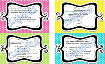 TASK CARDS 5th grade SOCIAL STUDIES Standards