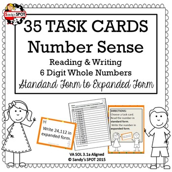 TASK CARDS 6 DIGIT NUMBERS STANDARD TO EXPANDED