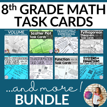 8th Grade MATH TASK CARDS BUNDLE