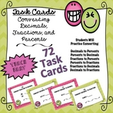 TASK CARDS- CONVERTING DECIMALS, FRACTIONS, PERCENTS