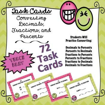 TASK CARDS- CONVERTING DECIMALS, FRACTIONS, PERCENTS