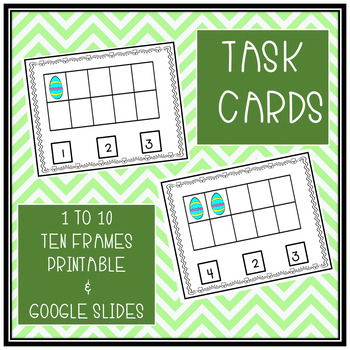 TASK CARDS COUNTING 1 TO 10 TEN FRAME PRINTABLE & GOOGLE SLIDES