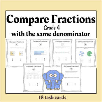 TASK CARDS - Compare Fractions. Same Denominator. Different Models