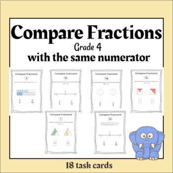 TASK CARDS - Compare Fractions. Same Numerator-Different Denominator.