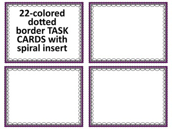 TASK CARDS-DOTTED TASK CARDS TEMPLATES- 38 TASK CARD CLIP ART TEMPLATES