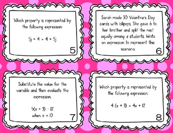 TASK CARDS - Eureka Module 4 - Expressions, Equations, Inequalities