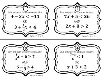 TASK CARDS / MATCHING CARDS - Algebra - Compound Inequalities