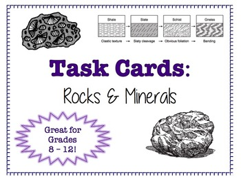 TASK CARDS - Rocks and Minerals