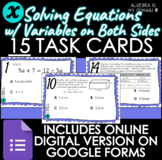 DIGITAL TASK CARDS -Solving Equations Variables on Both Si