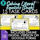 DIGITAL TASK CARDS - Solving Literal Equations (Simple) -