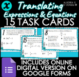 DIGITAL TASK CARDS - Translating Expressions & Equations -