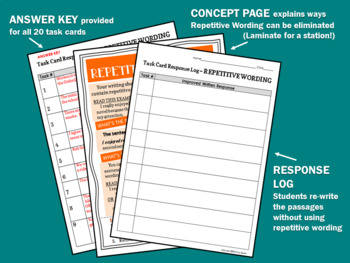 TASK CARDS for BETTER WRITING: Repetitive Wording
