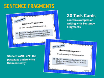 TASK CARDS for BETTER WRITING: Sentence Fragments