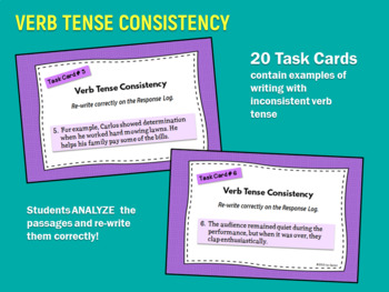 task cards for better writing verb tense consistency by joy sexton. Black Bedroom Furniture Sets. Home Design Ideas
