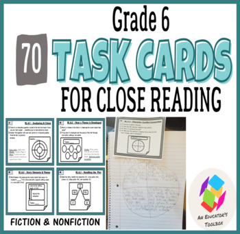 TASK CARDS for Common Core Reading Standards - Grade 6