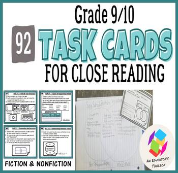 TASK CARDS for Common Core Reading Standards - Grades 9-10