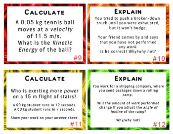 24 TASK CARDS for Physics: Energy Work and Power with ANSWER KEY