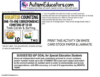"TASK CARDS for One To One Correspondence Counting To 20 ""Task Box Filler"" Autism"