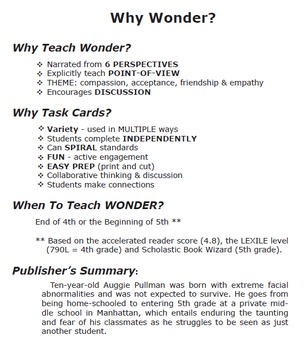 TASK CARDS for Wonder by R.J. Palacio