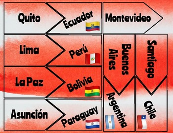 TASK CARDS -- spanish speaking countries & capitals