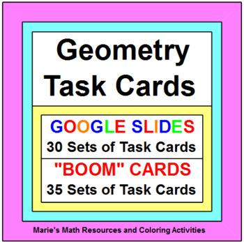 GEOMETRY TASK CARDS - BUNDLE (Currently 30 sets) 624 problems ($0.83 each set)