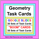 "GEOMETRY TASK CARDS BUNDLE:  (30 SETS ""GOOGLE SLIDES"", 35 SETS BOOM CARDS)"