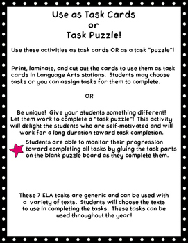 Reading & Writing Task Cards- 5th, 6th, 7th Grade