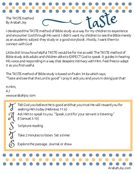 TASTE Bible Study Method for kids and families