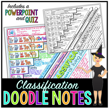 Taxonomic Classification Science Doodle Notes with PowerPoint & Quiz