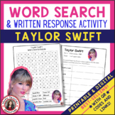 TAYLOR SWIFT Word Search and Research Activity for Middle