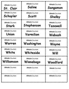 HISTORY   Illinois Counties BINGO game