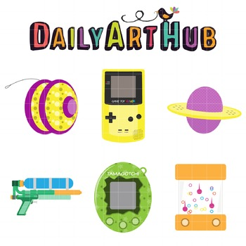 TBT 90's Toys Clip Art - Great for Art Class Projects!