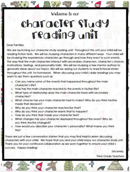 TC Character Study Third Grade Lesson Plans ENTIRE UNIT Bundled