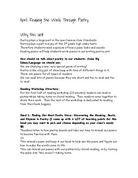TC First Grade Reading Poetry Unit Guide