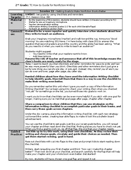 TC Grade 2 How to Guide for Nonfiction Writing Session 11-14 Lesson Plans