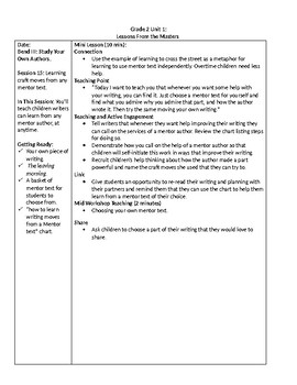 TC Grade 2 Unit 1 Writing Lessons From the Masters Lessons 15-18