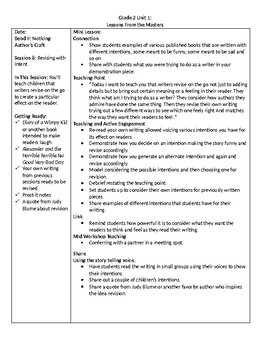 TC Grade 2 Unit 1 Writing Lessons From the Masters Lessons 8-10