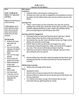 TC Grade 2 Unit 1 Writing: Lessons from The Masters, Lessons 1-3