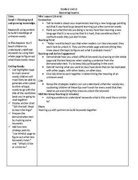 TC Grade 2 Unit 2 Becoming Experts: Reading Nonfiction Lessons 8-9