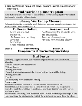 TC Grade K/1 HOW TO Writing Sessions 11-15